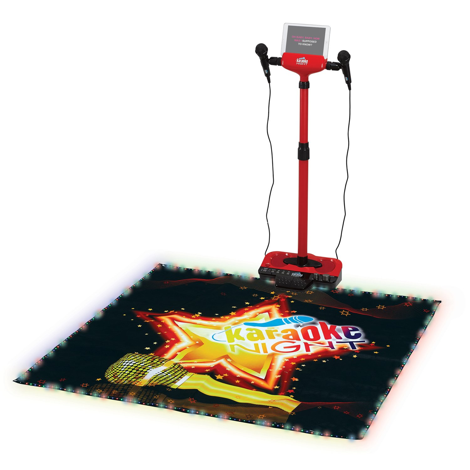 Kids Karaoke System Microphone with Stand and Lighted Dance Mat Karokee Machine