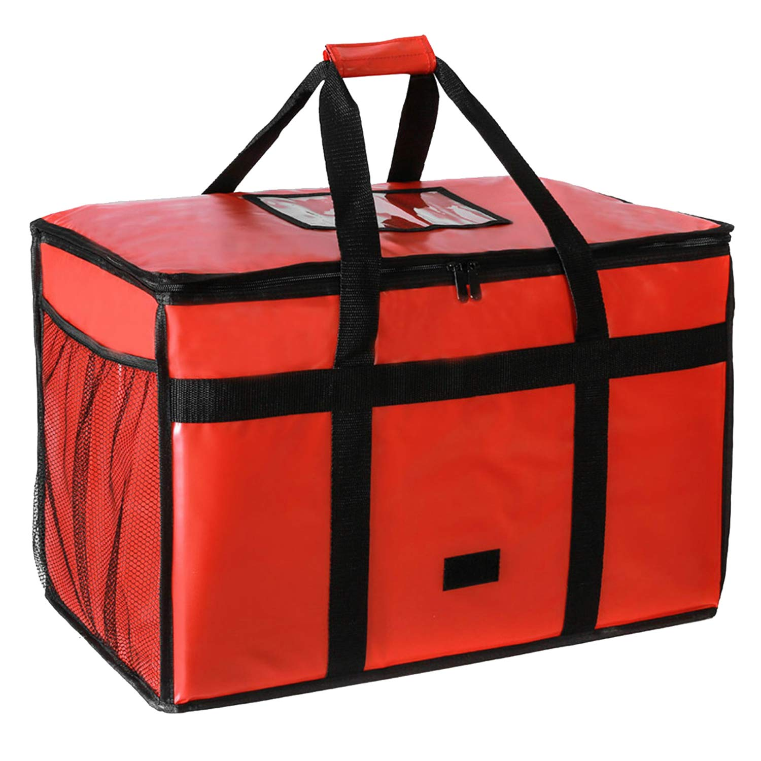 BFEERgirl XL Nylon Thermal Insulated Food Delivery, Thermal Reusable Grocery Bag, Food Warmer Carrier for Catering, Uber Eats, Doordash, Restaurant, Instacart (Red-Extra Large 73L)