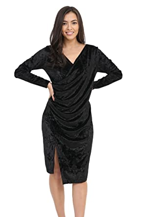 b1bf3ba8947 Image Unavailable. Image not available for. Colour  Elum ® Womens V Neck  Ruched Front Split Cut Velvet Bodycon Dress