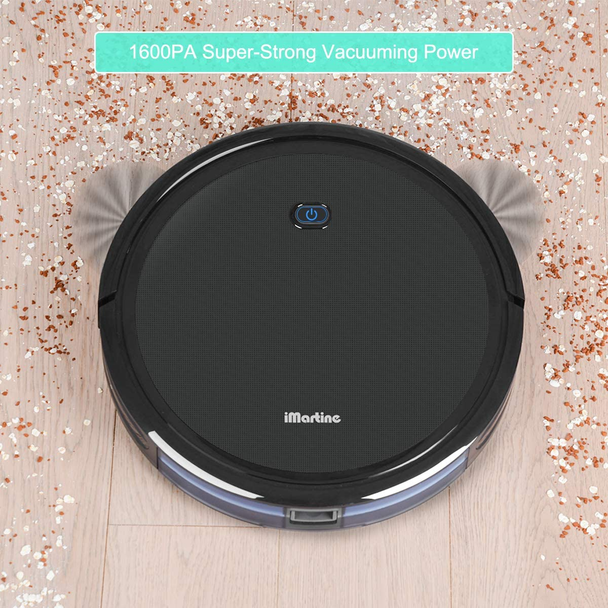Robot Vacuum Cleaner, iMartine 1600Pa Strong Suction Robotic Vacuum Cleaner, Super-Thin Quiet, Up to 120mins Runtime Automatic Self-Charging Robot Vacuum for Pet Hair Hard Floor to Medium-Pile Carpet
