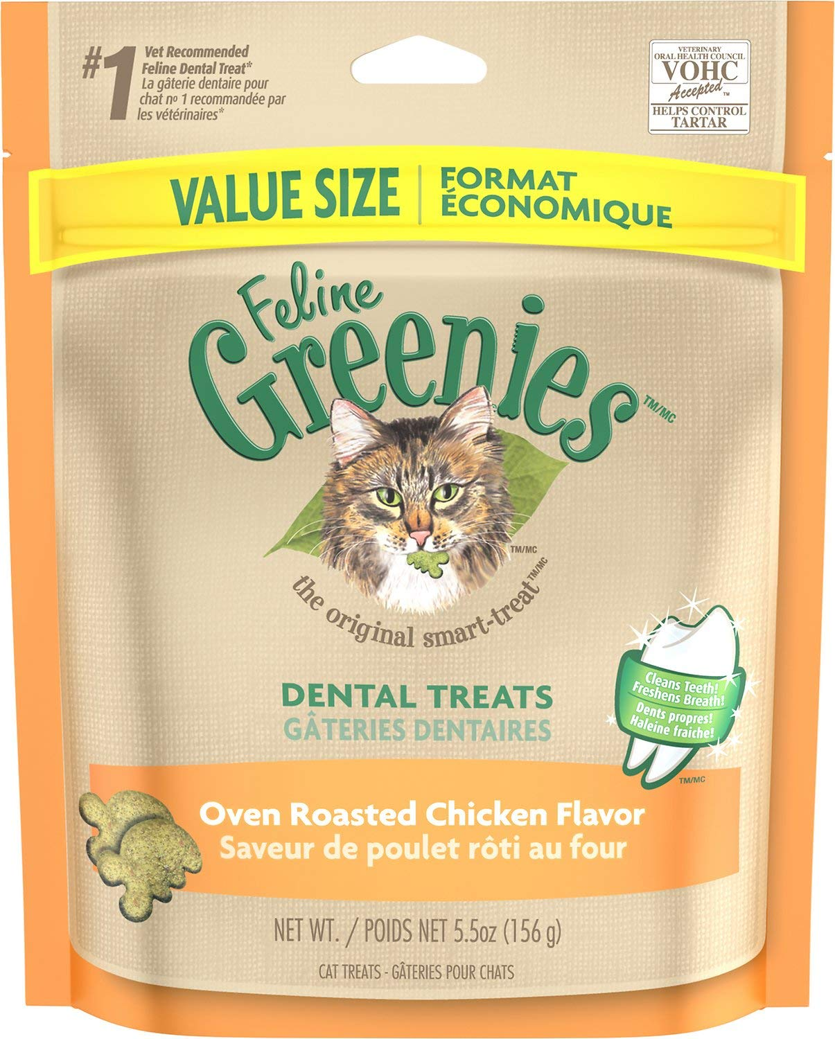 Greenies Feline Dental Treats Oven Roasted Chicken, 5.5 Ounce, 10 Pack