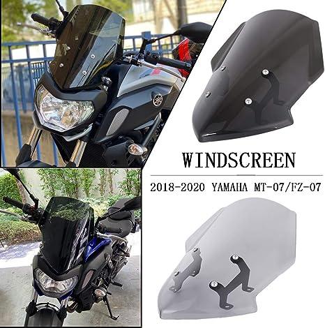 Light Smoke FATExpress Windscreen for 2018 2019 2020 Yamaha MT FZ 07 Motorcycle Windshield Fairing Airflow Wind Deflectors Screen Protector MT-07 FZ-07 MT07 FZ07 Accessories 18 19 20