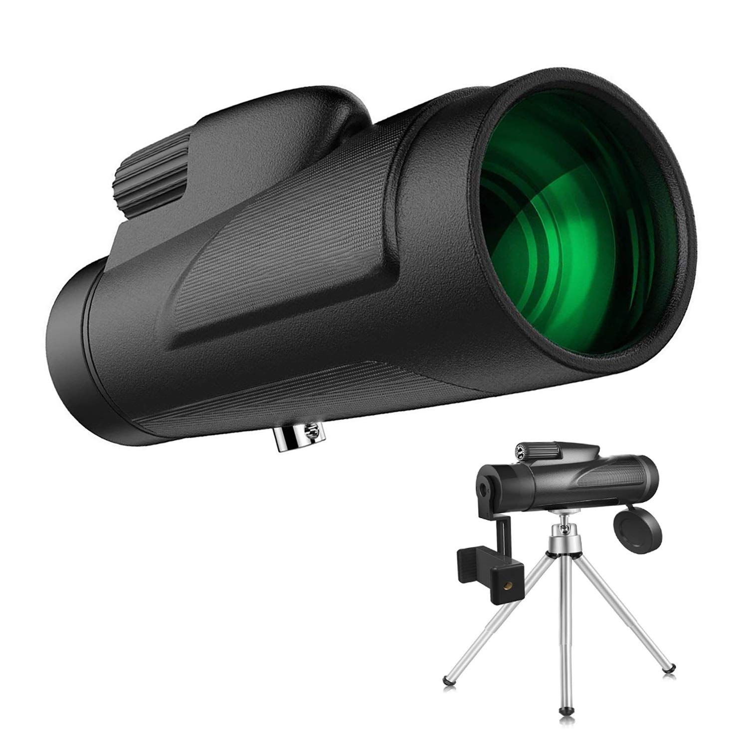 Monocular Telescopes, 12x50 Dual Focus Waterproof Spotting Scopes, Low Night Vision with Cell Phone Photography Adapter for Bird Watching Hunting Camping Hiking Travelling