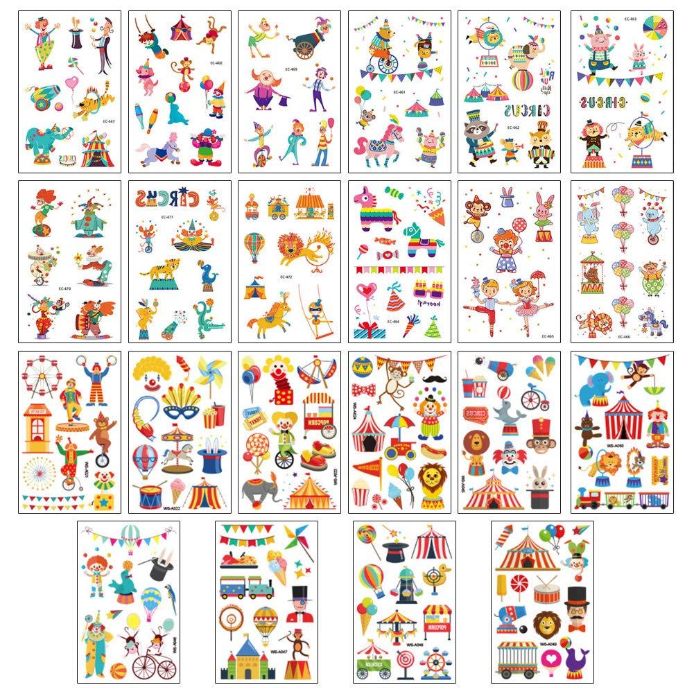 Koogel Zirkus Tattoos Set, 22 Blätter Konsait Kindertattoos Set Kinder Tattoos Aufkleber für Mädchen Jungen Kinder Spielen Kindergeburtstag Mitgebsel (222 Tattoos)