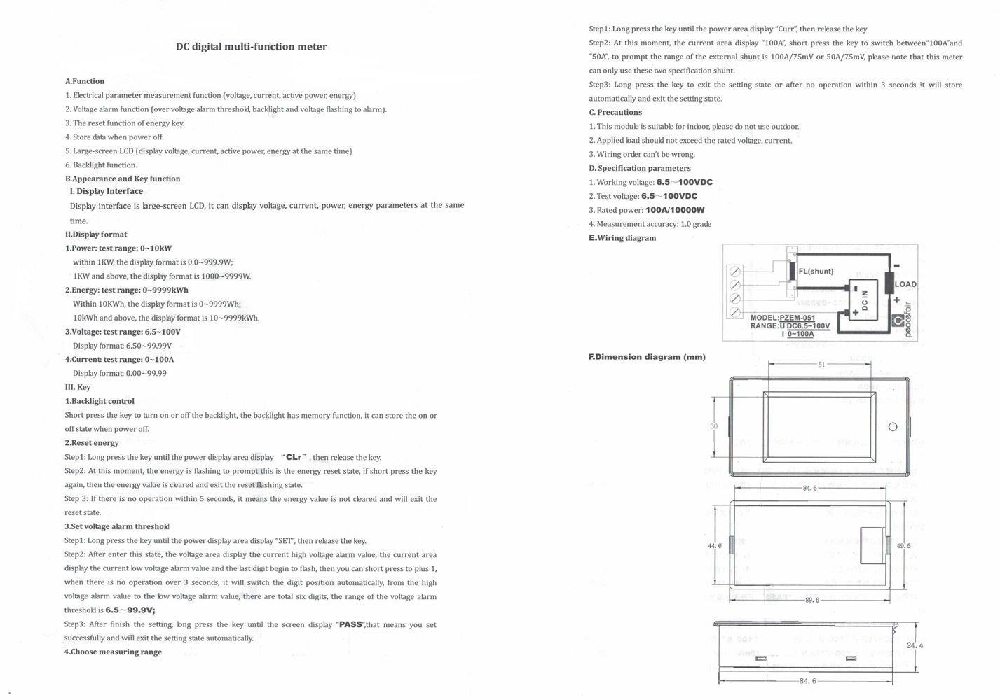 Uniquegoods Dc 65v 100v 50a Large Lcd Display Digital Combo Panel Ammeter Voltmeter Amp Volt Meter 100a Current Voltage Power Energy Multimeter With Shunt