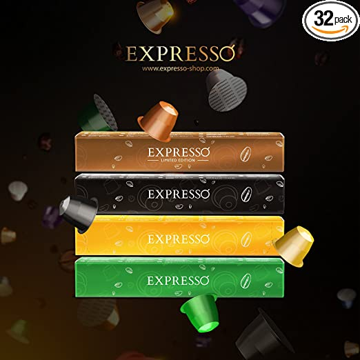 Nespresso Compatible Capsules - EXPRESSO Compatible Capsules - EXPRESSO coffee capsules Variety Pack Good Morning Set (32 Pods - 0.55/count) - Fit to All Nespresso Original Line Machine