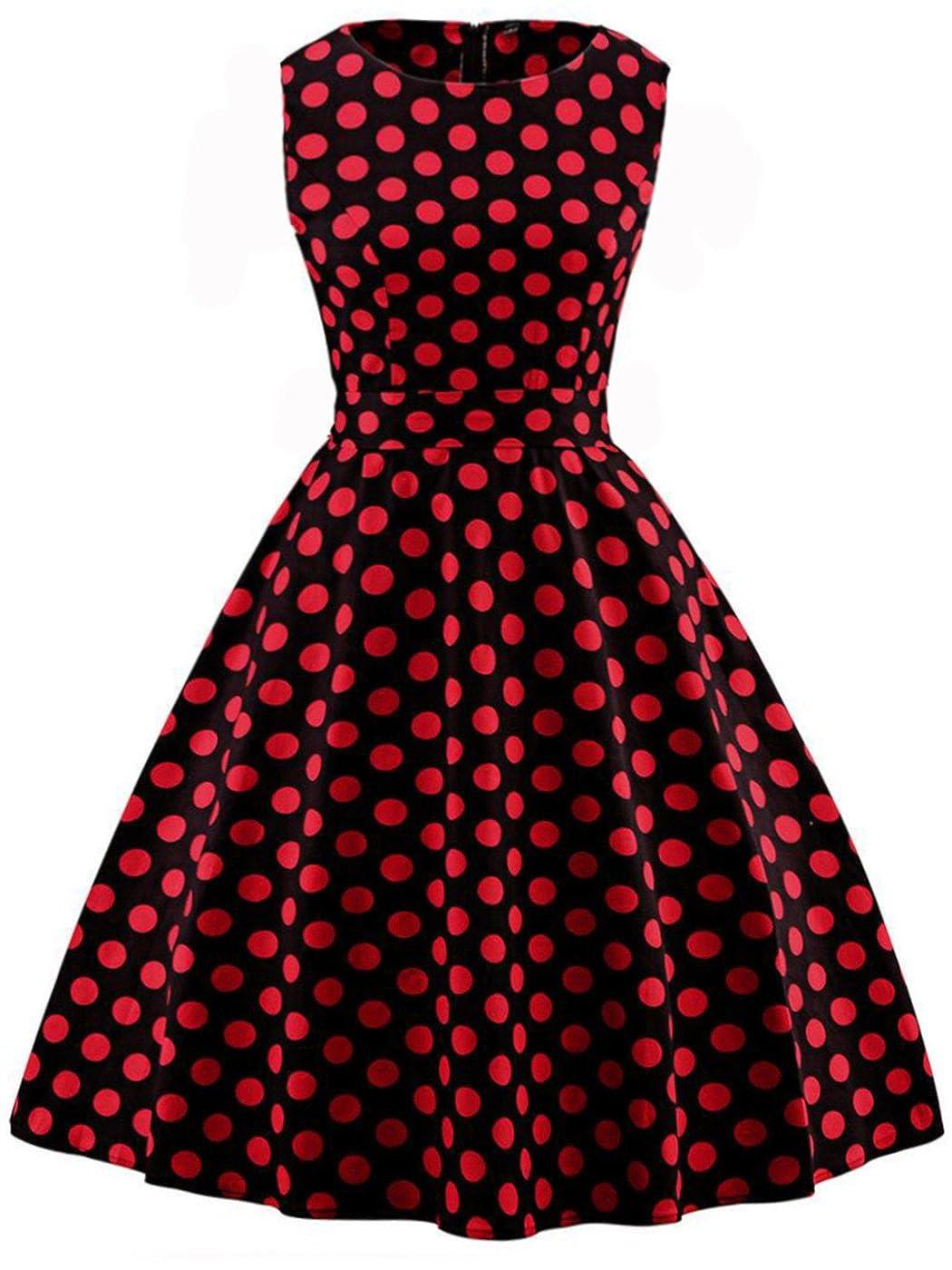 TALLA L. FAIRY COUPLE 50s Vestido de Partido Floral Retro del Oscilación del Cóctel del Vintage con el Arco DRT017 Black Red Dots