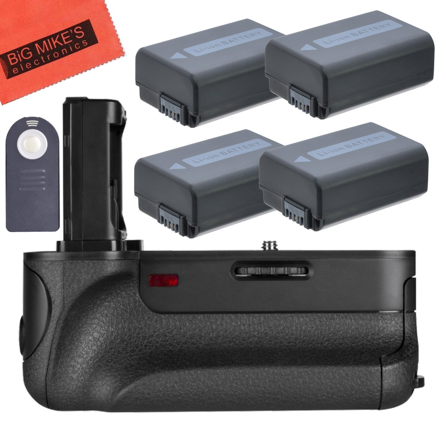 Battery Grip Kit for Sony Alpha A7, A7R, A7S DSLR Camera (VGC1EM replacement) - Includes Qty 4 Replacement NP-FW50 Batteries + AC/DC Battery Charger + Vertical Battery Grip Big Mike' s NPFW50