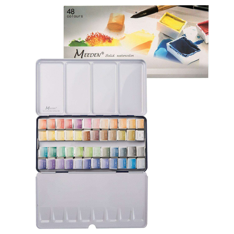 MEEDEN Art Watercolor Tin Palette Paint Set with 48 Colors Half Pan Paints Portable Watercolor Paint Set Navy Blue Enamel Exterior, for Field Sketch, Journey, Coloring, Watercolor Supplies