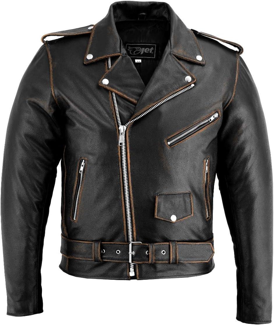 JET Chaqueta Moto Cuero Hombre con Protecciones Vintage Clasico Iconico Retro BRANDO (Negro angustiado, M)