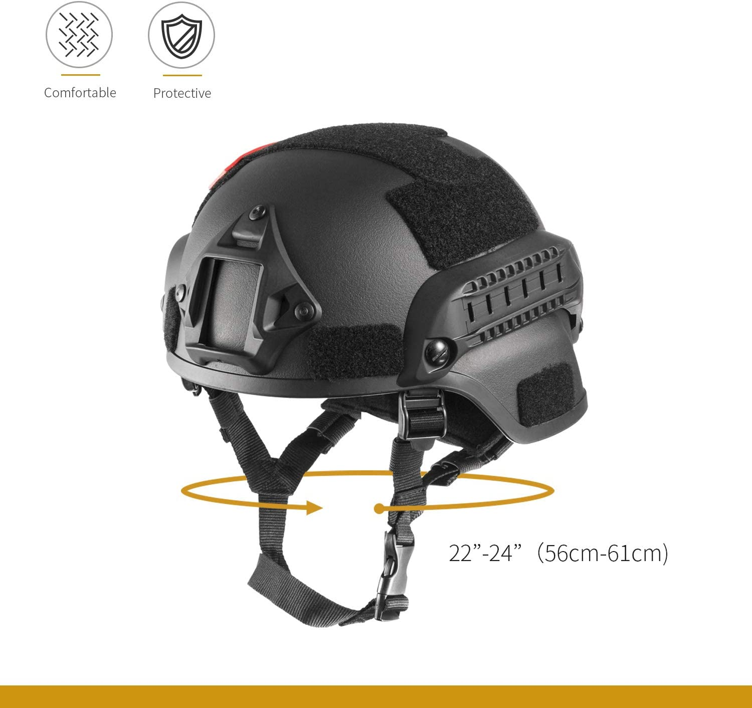 Details about  /MICH2000 Tactical Helmet ACH ARC Accessory Rail Combat Helmet With Bungees