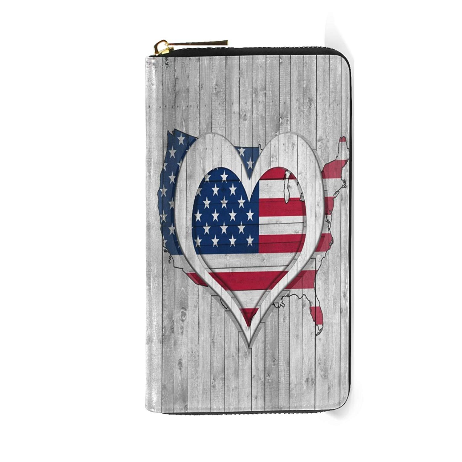 Usa American Flag Long Wallets Handbag World Map Passport Zipper Clutch Purse