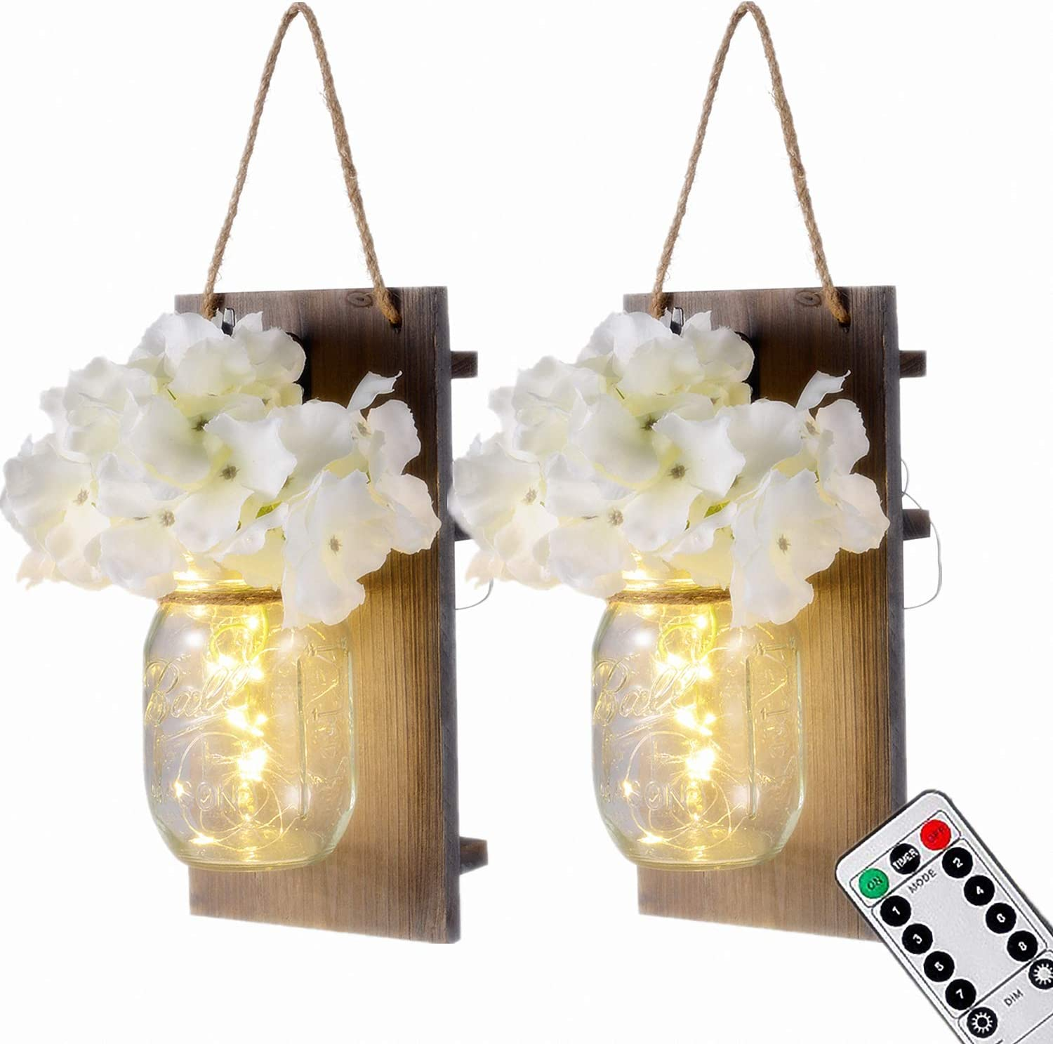 Mason Jar Wall Lights with Remote Control, LIGHTESS Rustic Bedroom Wall Decor, Hanging Battery Powered Jar Sconce with LED Fairy Lights for Farmhouse Decor, SYA11 (Set of 2)