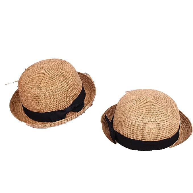 9ac2cada2 Amazon.com: Summer Straw Hat Cute Curling Small Hat Bow Beach Sun ...