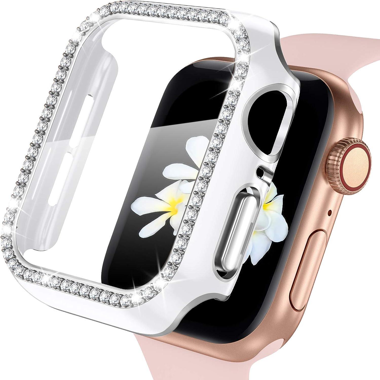 ZAROTO Case for Apple Watch Screen Protector 44mm Apple Watch SE, Bling Full Cover Bumper Protective Frame Screen Protector for iWatch Series 6/5/4 Women Girls 44mm Sliver White