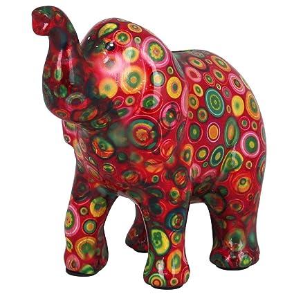Pomme Pidou Hucha Elefante Zara | Hucha Elefante Original en Cerámica | Rojo con Círculos Colorados