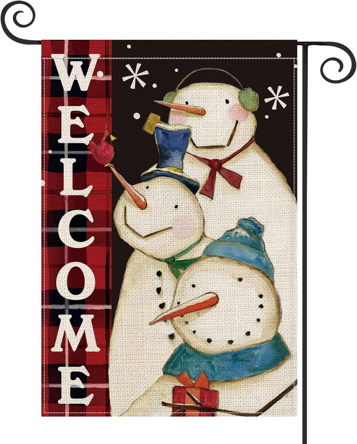 AVOIN Snowman Welcome Garden Flag Vertical Double Sized, Winter Holiday Christmas Burlap Yard Outdoor Decoration 12.5 x 18 Inch