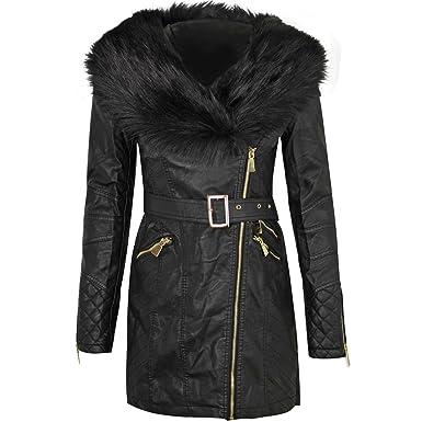 Veste noire col simili cuir
