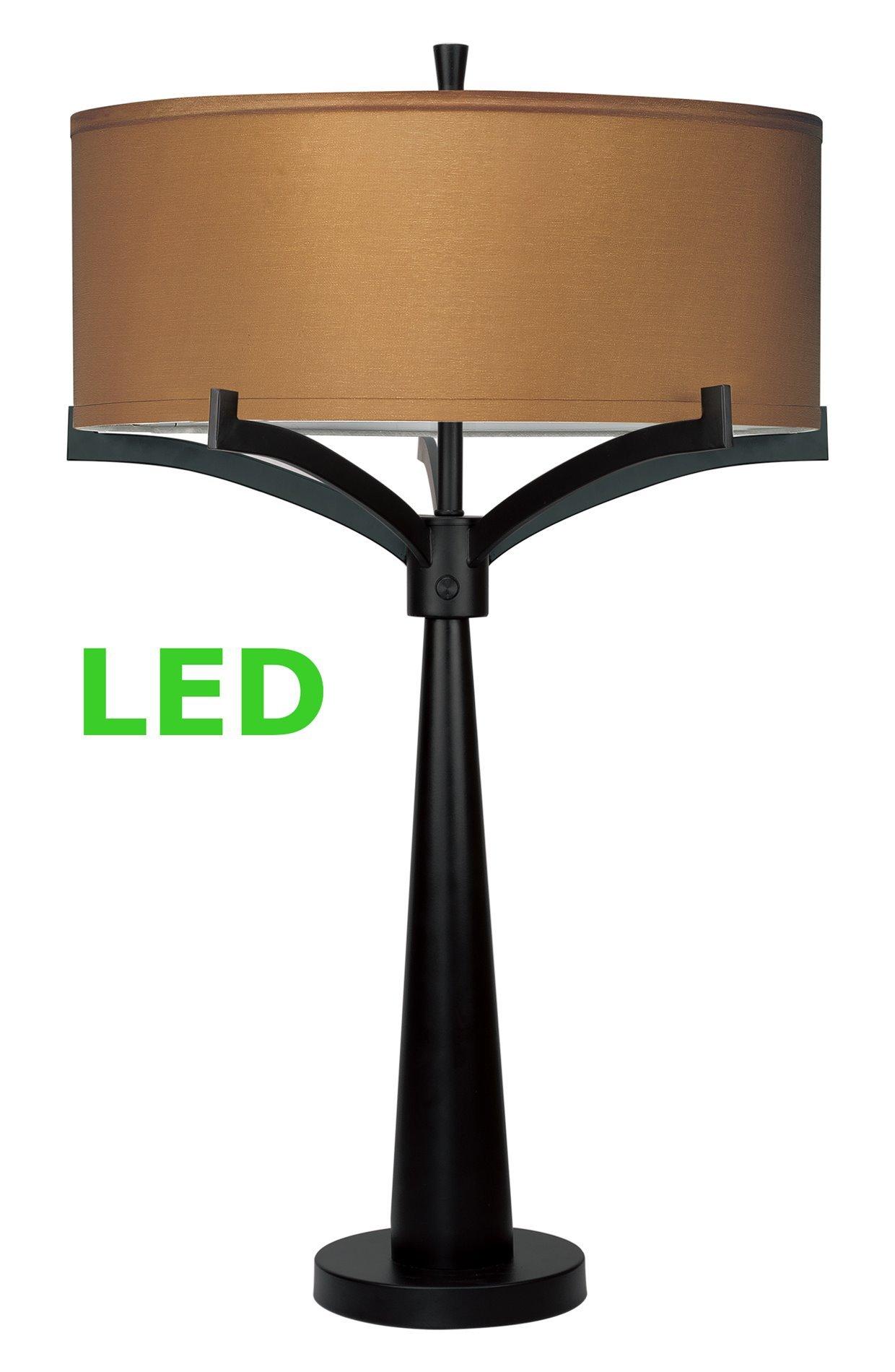 Revel Olympia Large 31'' 2-Light Modern LED Table Lamp, 12W LED (6W x 2), Energy Efficient / Eco-Friendly + Golden Bronze Shade, Black Finish