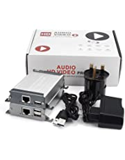MiraBox KVM HDMI Extender 80m 262ft Lossless and No Time Latency HD 1080P Transmitter Receiver USB 2.0 Support Keyboard and Mouse Over LAN Cable Cat5 Cat5e Cat6 for DVD Home Theater