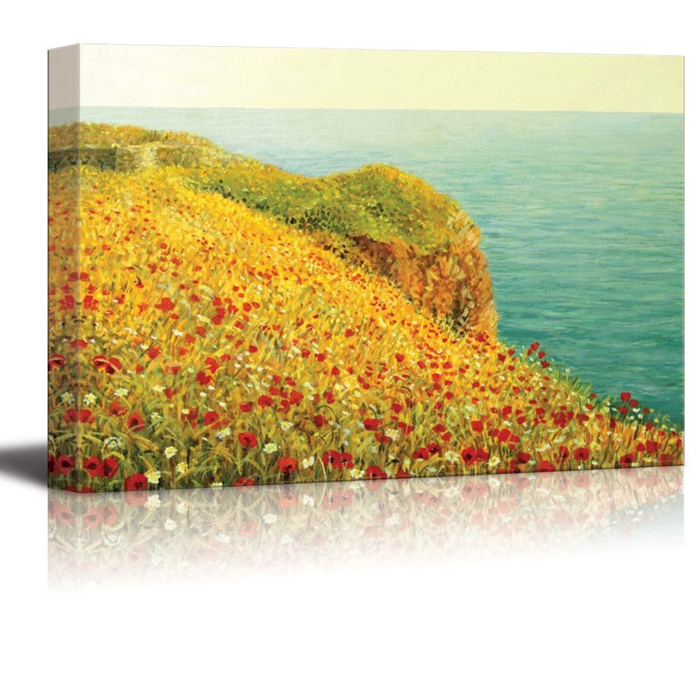 Beautiful Seascape with Vivid Red Poppies at the Sea Coast Oil ...