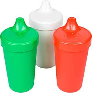 product image for Re-Play Made in USA 3pk No Spill Cups for Baby, Toddler, and Child Feeding in Kelly Green, Red and White | Made from Eco Friendly Heavyweight Recycled Milk Jugs - Virtually Indestructible (Holiday)