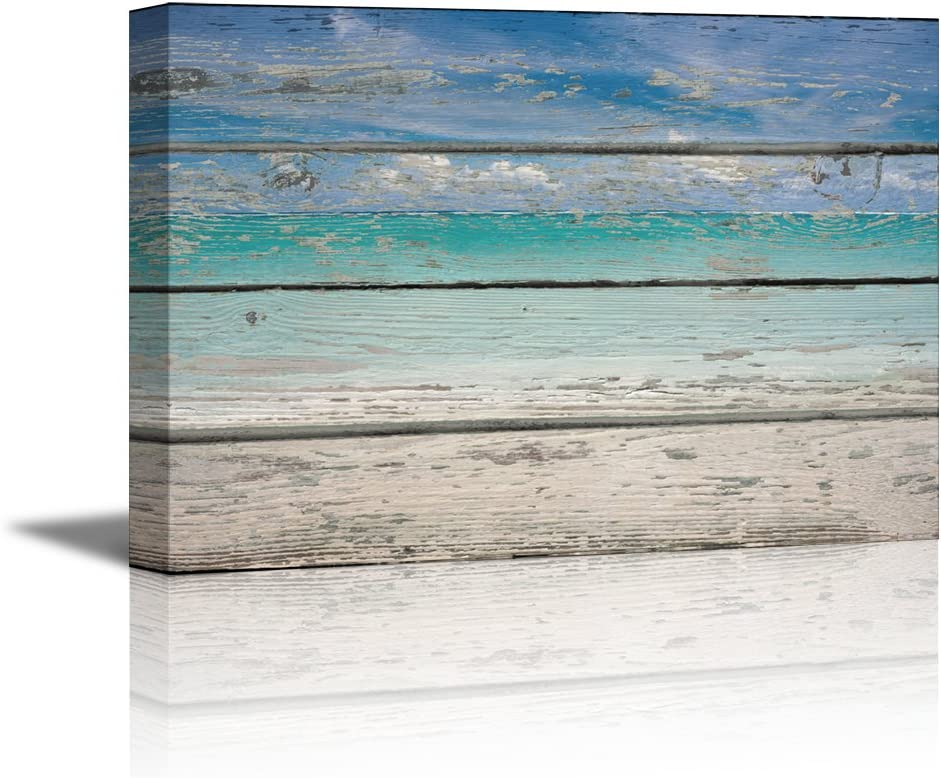 Canvas Prints Wall Art - Tropical Beach on Vintage Wood Background Rustic Home Decoration - 12
