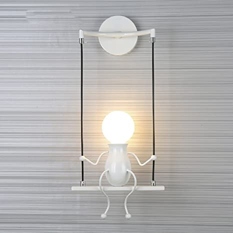 FSTH Lámpara de pared creativa Característica noche de la lámpara moderna lámpara de pared de la muñeca El columpio infantil lámpara de pared ...