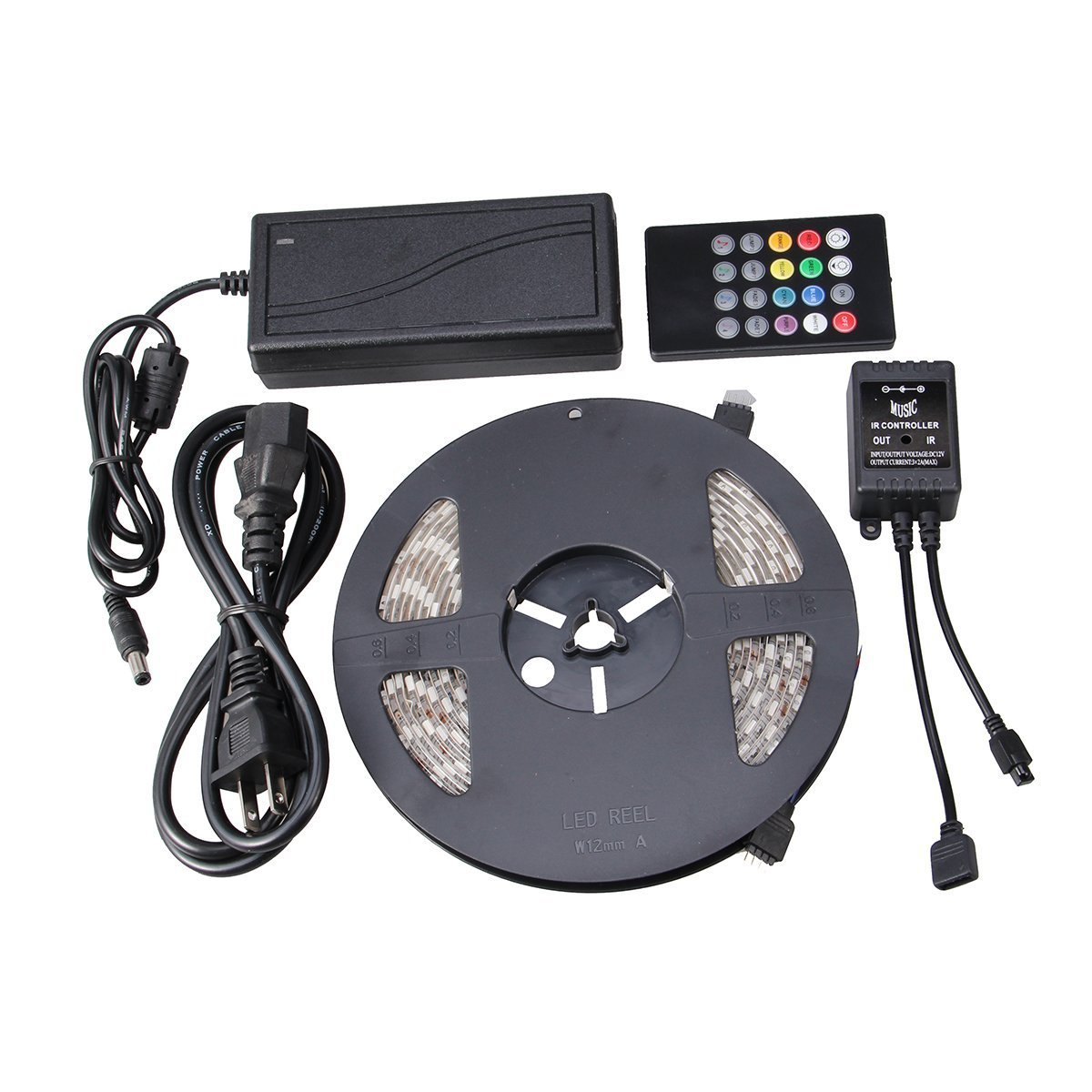 NEWSTYLE Waterproof 150LEDs 5M Color RGB LED Strip Light Kit with 20-key Music Sound Sense IR Controller and 12V Power Supply