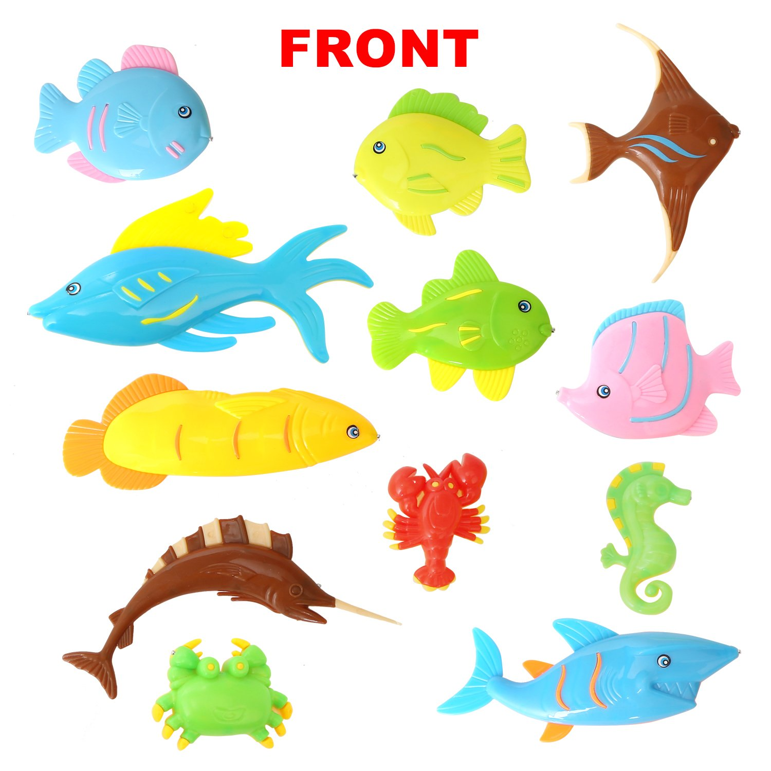 Digabi 13PCS Fish Magnetic Fishing Toys Colorful Magnet Fishing Game with Fishing Rod for Kids Toddlers