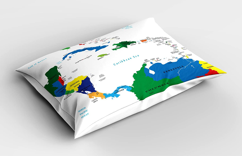Mapa almohada Sham por Ambesonne, América Central y el Caribe islas mapa Países ciudades nombres regiones lugares, decorative estándar King size impreso ...