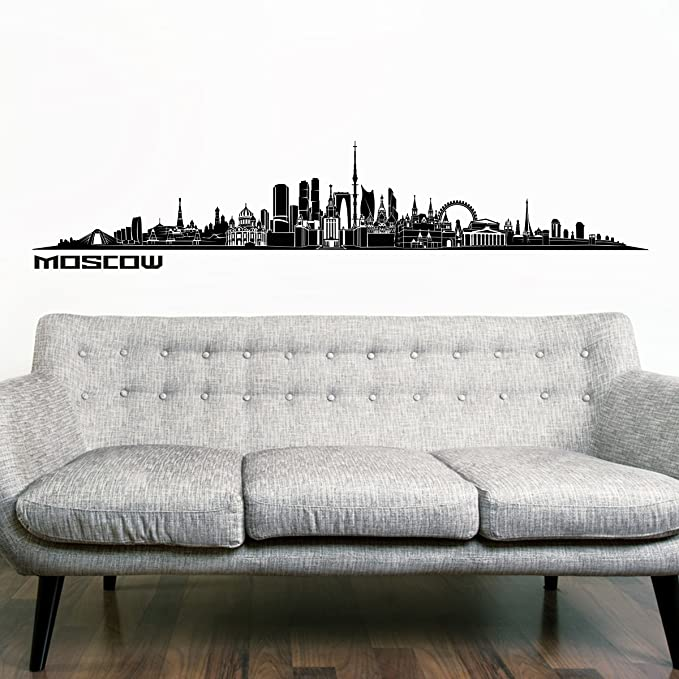 Wandkings Skyline wall sticker wall decal - 48 x 10 inch in black - Your city selectable - MOSCOW
