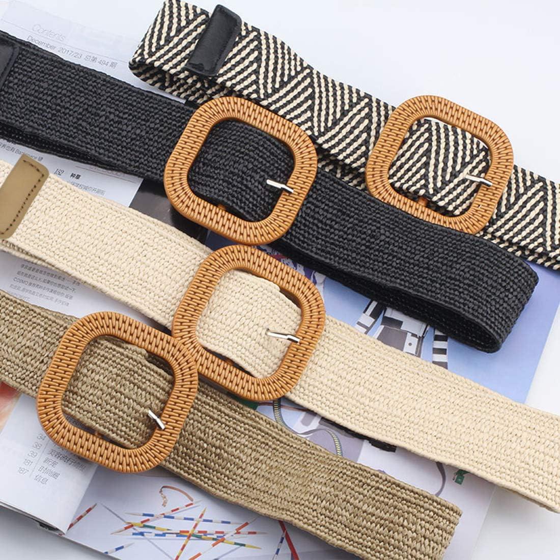 Cintura elastica intrecciata da donna in paglia intrecciata
