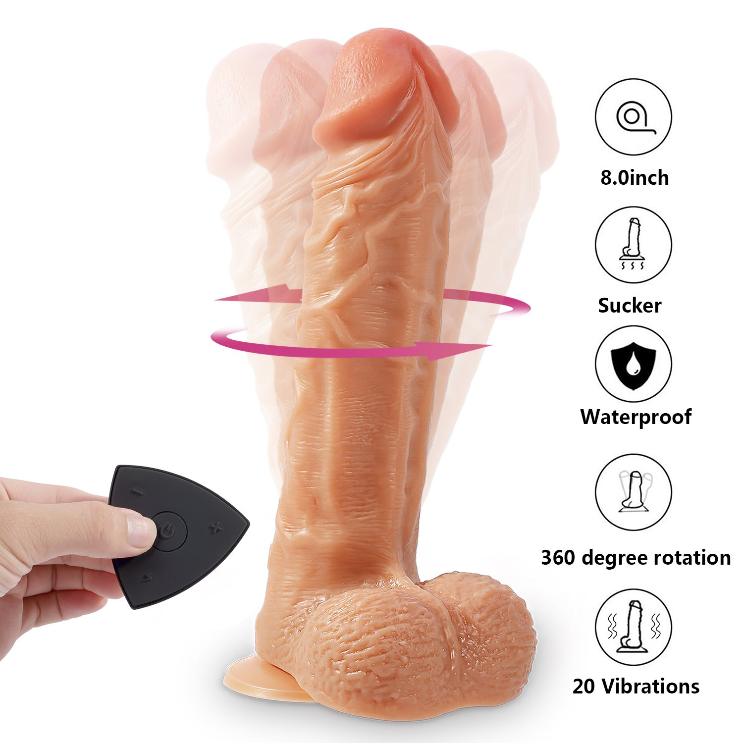 Realistic Dildos Vibrators, Proxoxo Lifelike 360°Rotation Penis, Rechargeable Waterproof Adult Toys with 20-Frequency 32ft Remote Control, Silicone Vibrating Dildo for Sex Vaginal G-spot Anal Play
