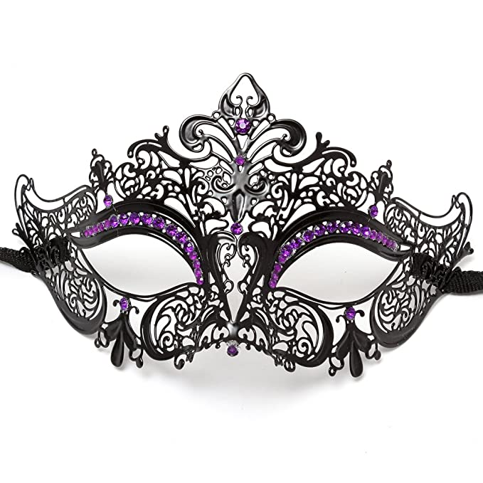 Amazon.com: Party Queen Venetian Mask with Sparkling Purple Rhinestone -  Black: Clothing