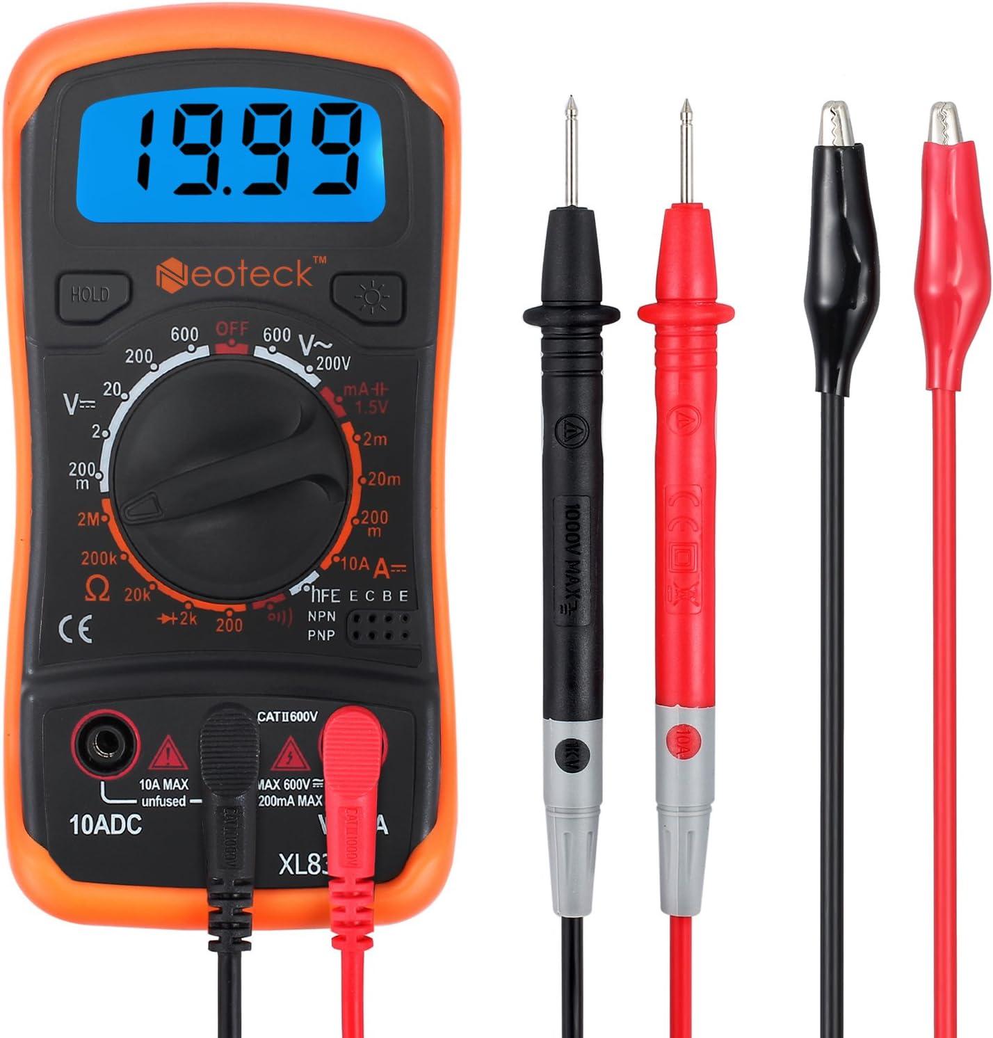 Neoteck MultÍmetro Digital Multi Tester Voltímetro Amperímetro Ohmímetro AC/DC Diodos de Resistencia Transistor Audible Continuidad Probador con retroiluminación LCD para Fábrica Laboratorio