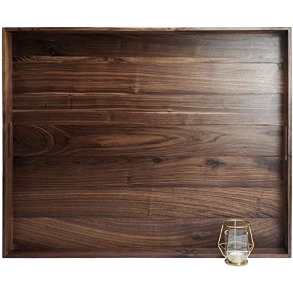 Stupendous Magigo 30 X 24 Inches Extra Large Rectangle Black Walnut Wood Ottoman Tray With Handles Serve Tea Coffee Or Breakfast In Bed Classic Wooden Evergreenethics Interior Chair Design Evergreenethicsorg