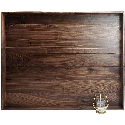 Astonishing Magigo 30 X 24 Inches Extra Large Rectangle Black Walnut Wood Ottoman Tray With Handles Serve Tea Coffee Or Breakfast In Bed Classic Wooden Inzonedesignstudio Interior Chair Design Inzonedesignstudiocom