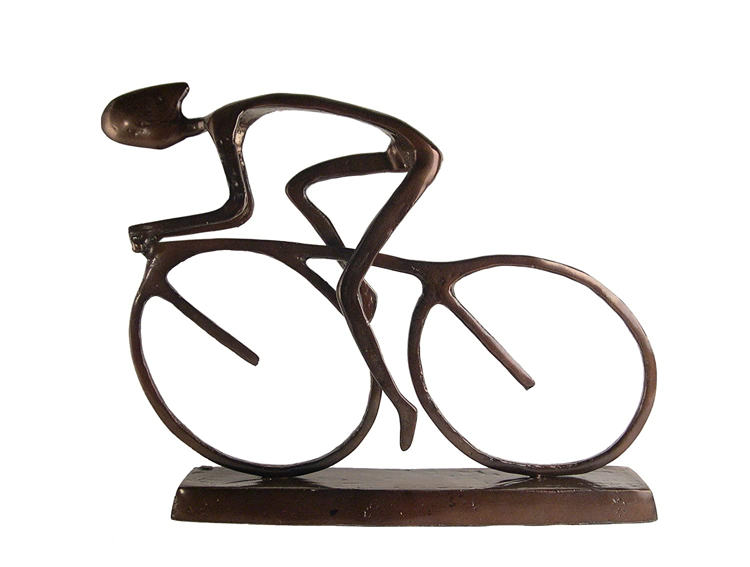 Large 20 Inch Cyclist with Helmet in Moving Forward Motion Statue