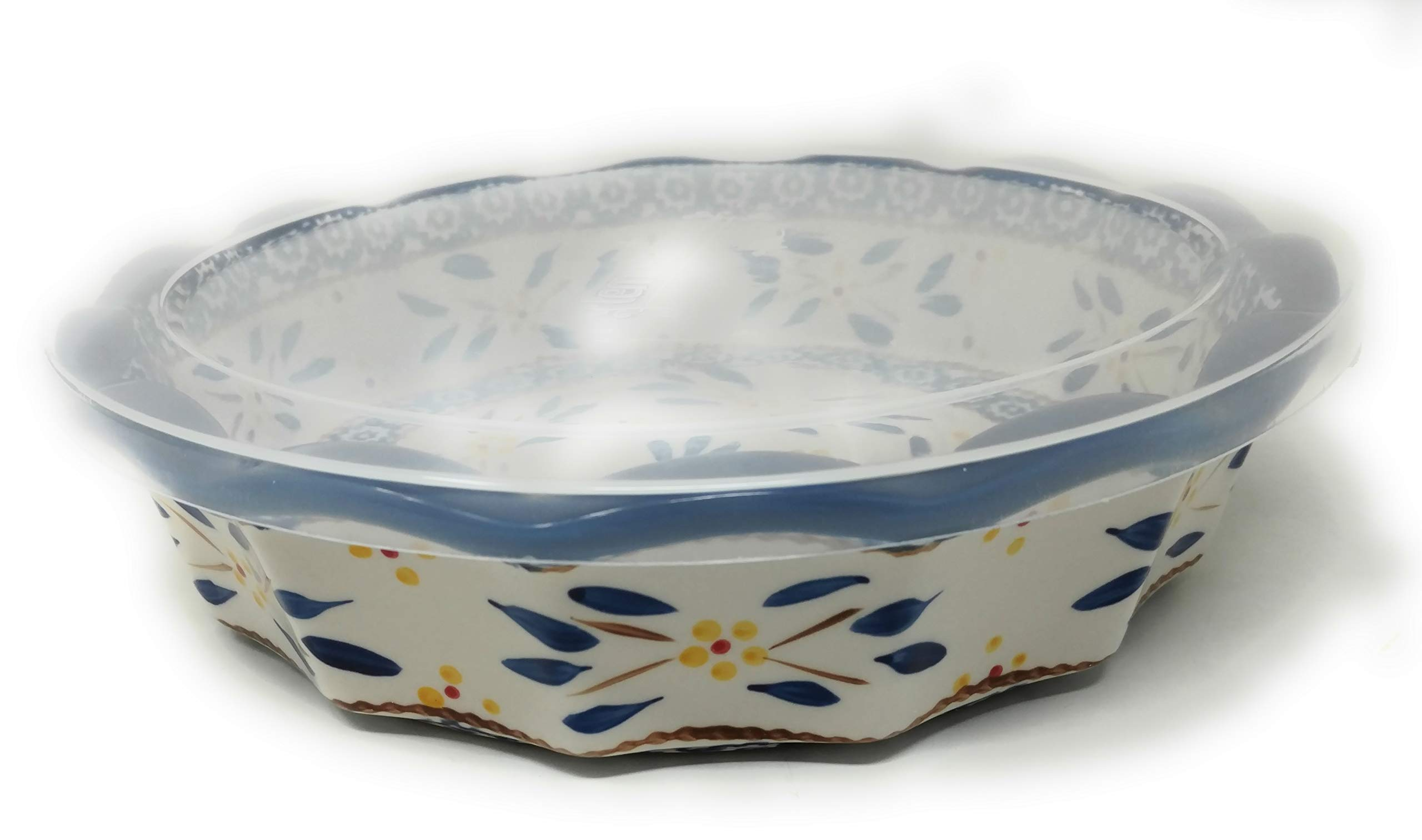 Temp-tations 10'' x 2.25'' Pie Pan w/Cover, Scalloped, Deep Dish Pizza or Quiche (Old World Blue) by Stoneware (Image #4)