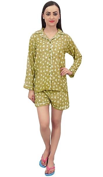 a9ad3e59d3 Bimba Camisa Y Pantalon Corto para Mujer Dormir Pijama 2 Piezas De Dormir   Amazon.