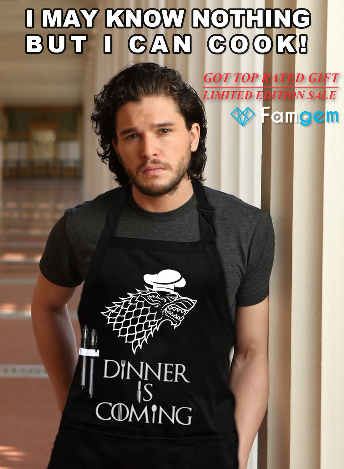 Grill Aprons Kitchen Chef Bib - Famgem Dinner is Coming Professional for BBQ, Baking, Cooking for Men Women / 100% Cotton, Adjustable 3 Pockets, Black by Famgem (Image #2)
