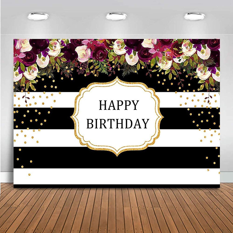 Amazon Com Mehofoto Happy Birthday Backdrop Red Floral Stripes Dots Birthday Photography Background 7x5ft Vinyl Women Birthday Party Banner Backdrops Camera Photo