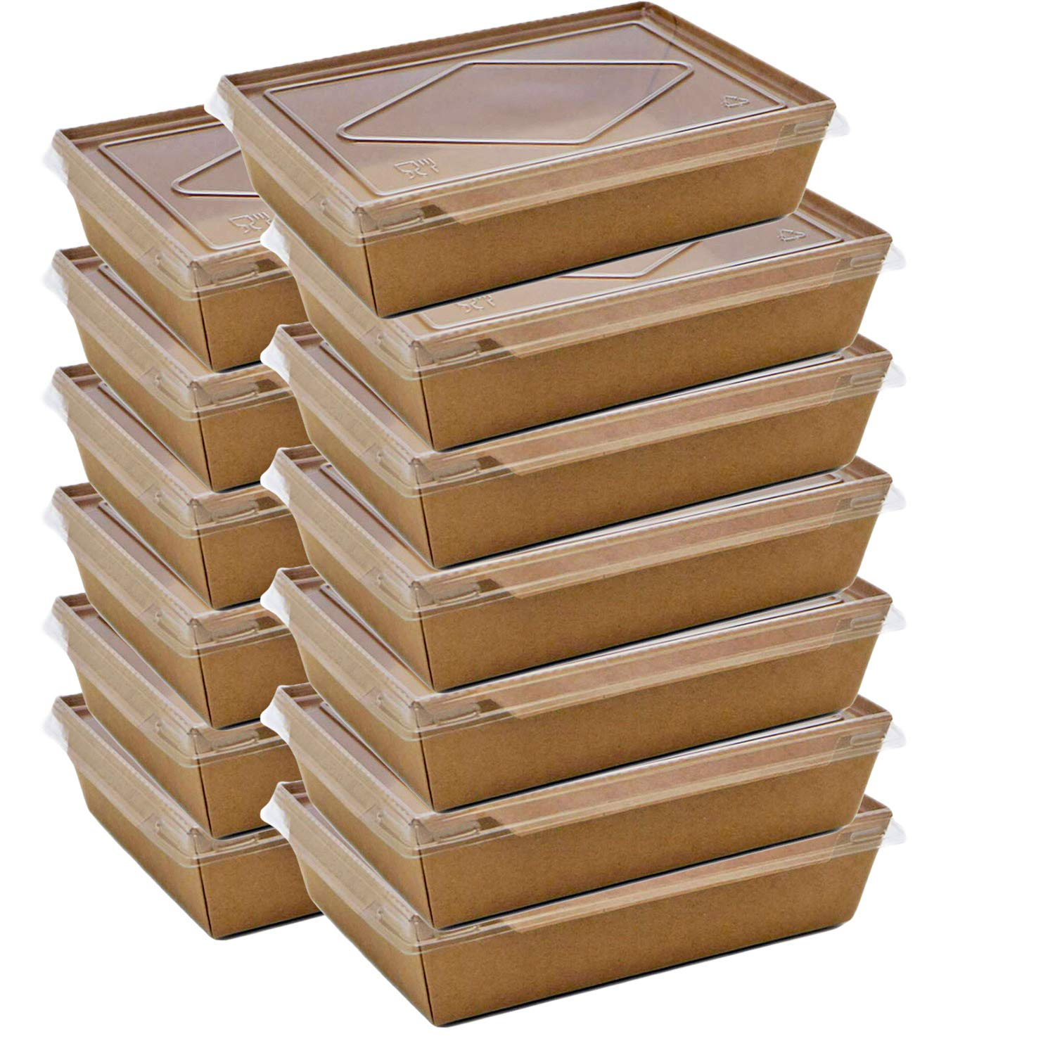 GETTING ON Rectangular Kraft Paper Disposable to go Boxes with Transparent Cover 76 Oz (7.6X 5.5 x 2.5 inche) s(50 Packs) 2100gram Recyclable take Out Lunch Box Food Container with Transparent Window