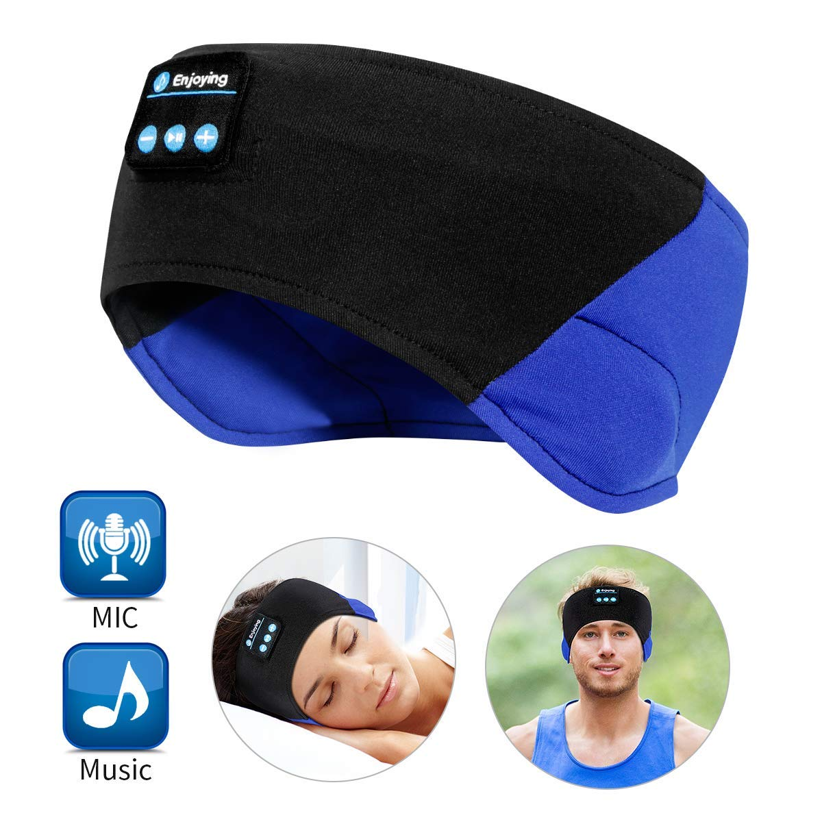 Bluetooth Sleep Headphones – The Young s Bluetooth Sport Headband Wireless Sleeping Headphones for Workout Jogging Yoga – Black and Blue