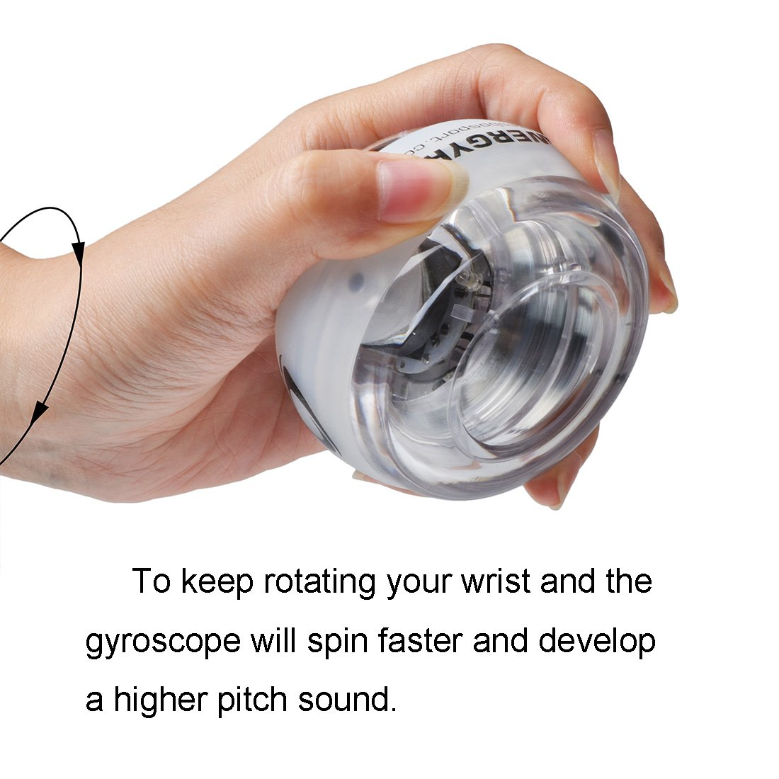 RESBO Wrist Trainer Ball Exerciser Hand Spinner Gyroscopic Ball Metal Type Gyro Ball with LED Light by RESBO SPORT (Image #4)