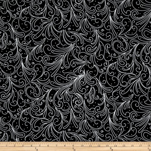 Black White Paisley Fabric - 3