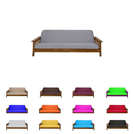 Excellent Futon Mattress Cover Solid Color Choose Color And Size Twin Full Queen Full 6X54X75 Gray Squirreltailoven Fun Painted Chair Ideas Images Squirreltailovenorg