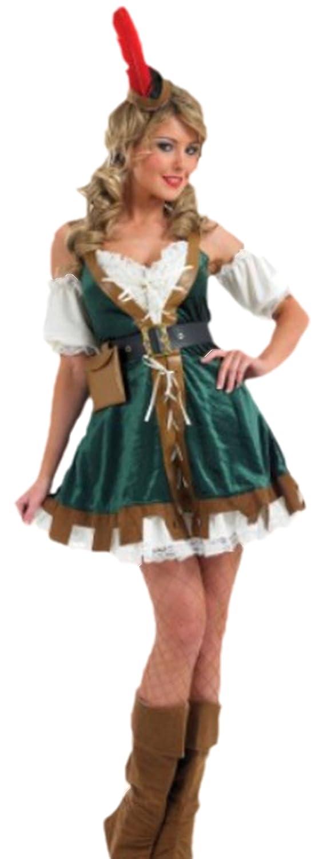 Zauberclown Damen Robin Hood Girl Kostüm, S, Mehrfarbig