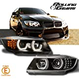 Black Headlight Headlamp Projector For BMW E90 E91 3-series, New Generation LED Angel Eyes and LED Corner, Fits 2005-2008 Models (Silver Painted Eyebrow)